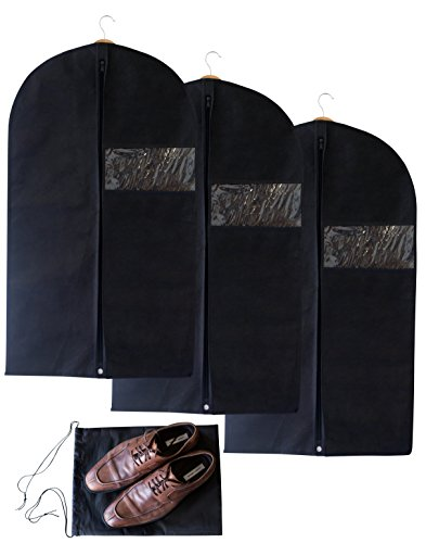 Set of 3 Breathable Garment Bags with Bonus Shoe Bag – Has Clear Window, Reinforced Opening and Zipper — Premium Suit Cover That Also Works for Dresses & Other Linens –Perfect for Storage or Travel