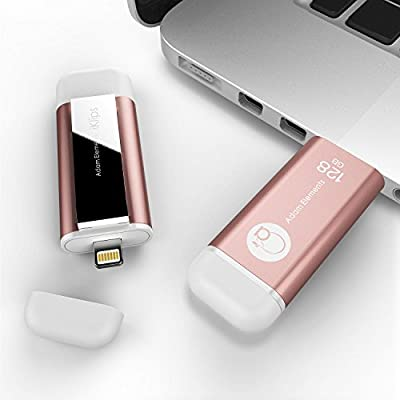 iKlips MFI Certified Lightning and USB 3.0 Flash Drive Memory Stick Storage Device Hard Disk 128GB Rose Gold for iPhone 5/5s/5c, 6, 6 Plus, 6s, 6s Plus,iPad Air,iPad mini 2/3/4, Mac PC HK663