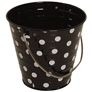 Black with Small White Dots Small Colorful Metal Pail Buckets - Sold individually