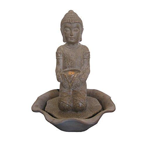 Welland 13-inch Kneeling Buddha Tabletop Fountain w/ LED Light