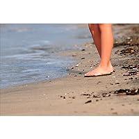 波打ち際 人の足のポストカードphoto by 中澤 敏 葉書ハガキ海