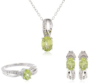 Sterling Silver Oval Peridot and Diamond Ring, Pendant Necklace, Earrings Box Set, Size 7