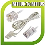 ♥  Premium High Quality Hi Speed 2M RJ11 US to RJ 11UK Gold Pated Pins White Cable Lead 2 M Meter Metre BT Plug tele phone PVC ROHS complaint Pure Copper for Telephone Fax Line Cord Internet Broadband Router Modem Machine Microfilter