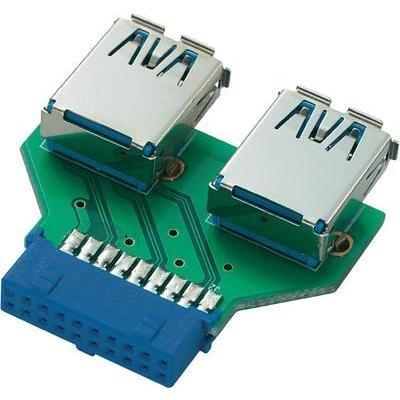 Adaptateur USB 3.0 19 broches sur 2 fiches femelles USB A