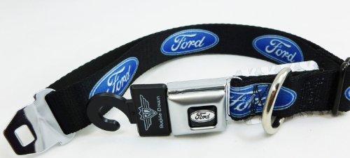 "Ford Logo Seat Belt Buckle Style Dog Collar 1"" 9-15"""