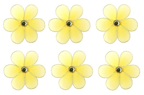 "2"" Yellow Mini (X-Small) Daisy Flower Daisies Flowers 6pc set - nylon nursery bedroom girls room ceiling wall decor, wedding birthday party baby bridal shower"