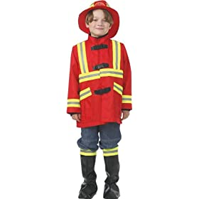 Fire-fighters Costume Red Yellow with Coat Hat and Boot Covers