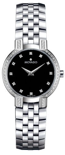 Movado Women's 605586 Faceto Diamond Accented Stainless-Steel Watch