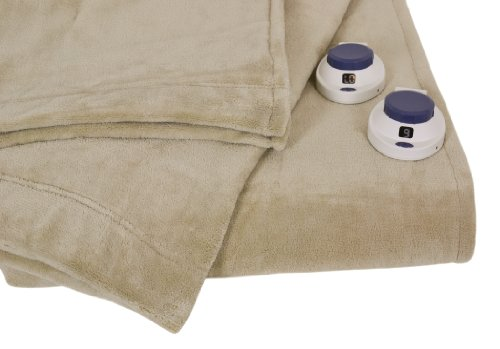 Serta Luxe Plush Low-Voltage Electric Heated Micro-Fleece Blanket, King, Pearl