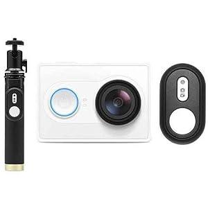 YI Cámara Acuatica Acción Cámara Equipo: Cámara Palo Selfie Bluetooth Remoto Blanco