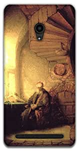 The Racoon Lean Philosopher in meditation - Rembrandt hard plastic printed back case / cover for Asus Zenfone 6