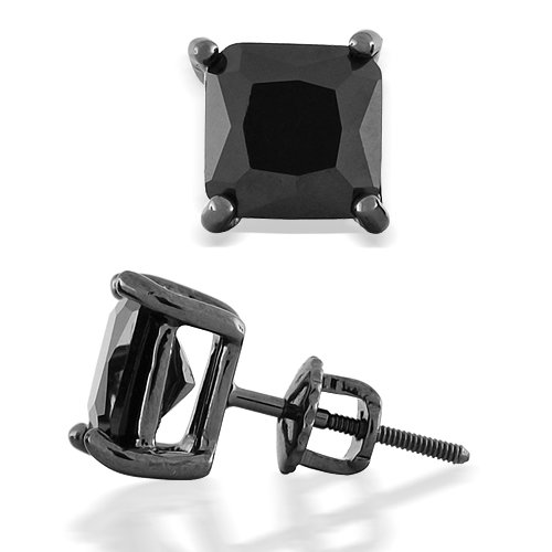 Bling Jewelry Black Square Cubic Zirconia Screw Back Post Stud Earrings 7mm