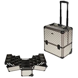 16 inch Diamond Pattern Texture 8 Easy-slide Extending Trays Aluminum Professional Makeup Artist Rolling Makeup Cosmetic Train Case Wheeled Organizer