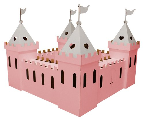 Kid-Eco Large Cardboard Princess Palace Playhouse (Pink  &  Silver)