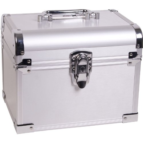 10 inch Silver Aluminum Travel Organizer Makeup Cosmetic Train Case w/Removable Jewelry Tray