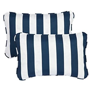 Mozaic Sabrina Corded Indoor/Outdoor Throw Pillows, 13 by 20-Inch, Striped Navy, Set of 2 by Mozaic Dropship