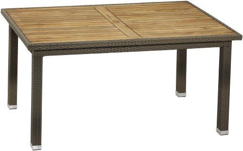Gartenfreude Polyrattan Tisch 160 x 90 x 75 cm, cappuccino, Aluminiumgestell, wetterfest, mit Tischplatte aus Akazienholz