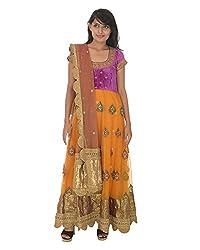 Gurpreet Kaur Women Brocade & Georgette Dress (D008, Magenta & Mustard, 36)