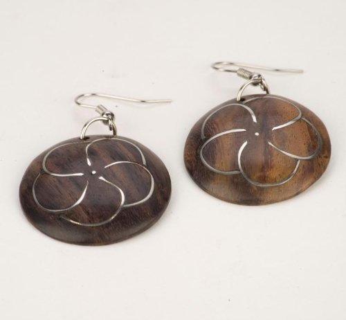 Brown flower silver 30mm earrings coco wood wooden pair