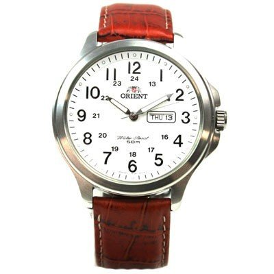 ORIENT Dress elegante Herrenuhr Day-Date Quarz Lederband FUG17002W3