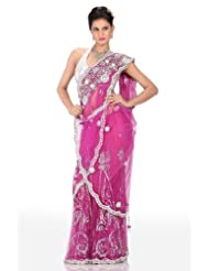 Chhabra555 Purple Net One Minute Saree - B00J4RPCF8