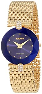 Jowissa Women's J5.012.M Facet Strass Gold PVD Dimensional Glass Blue Dial Rhinestone Watch