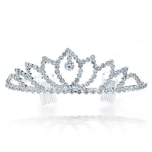 Bling Jewelry White Gold-Plated Crystal Drop Crown Bridal Tiara