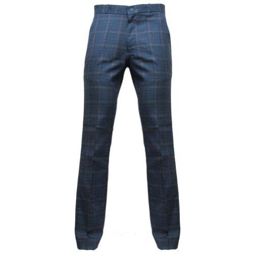 Relco Herren Sta-Press-Hose - 60er Jahre/Mod-Stil - Tweed Blau - 28