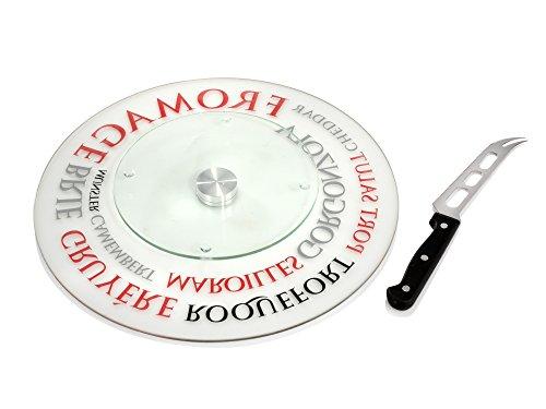 Queso-placa 34 cm bandeja-plato giratorio con un cuchillo de queso-cristal-plato
