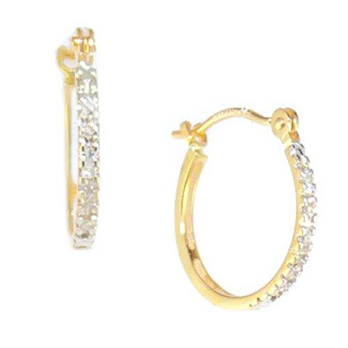10k Yellow Gold Diamond Mini-Hoop Earrings (.033 cttw, I-J Color, I1-I2 Clarity)