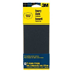 3M Assorted Grit Emery Cloth Sandpaper, 3.67-Inch by 9-Inch, 3-Pack