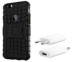 Chevron Hybrid Military Grade Dual Armor Kick Stand Back Cover Case for Apple iPhone 6 with USB Mobile Wall Charger (Space Black)