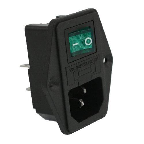 SODIAL(R) AC 10A 250V IEC320 C14 Module d'entree avec Lampe neon Bascule Interrupteur et Porte-fusible