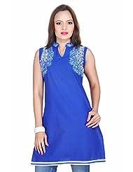 Kirti's Cotton Cotton Kurtis - Blue (F061)