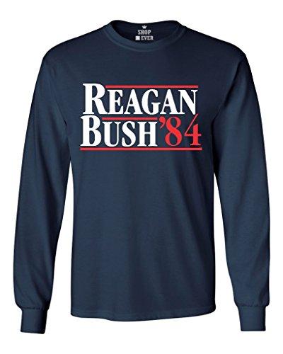 Shop4Ever® Reagan Bush 84 Long Sleeve Shirt Republican Presidential Campaign Shirts Medium Navy 0 (Bush Campaign compare prices)