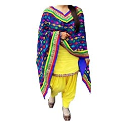 Regalia Ethnic New Collection Royal Blue And Yellow Cotton Embroidered Unstitched Dress Material With Matching Dupatta