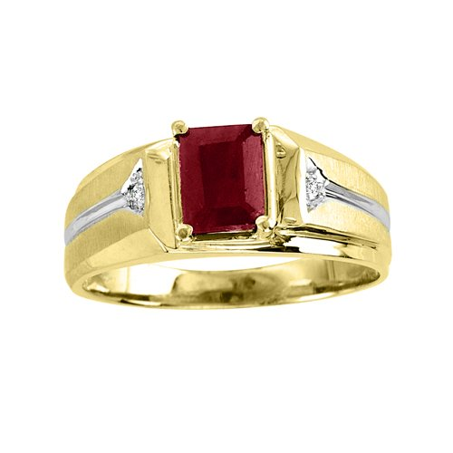 Mens Emerald Cut Ruby & Diamond Ring 14K Yellow Gold