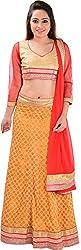 Panchi Women's Orange and Red Net Lehenga (P-Jashan-5095)