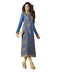 Desi Look Women's Blue Georgette Dress Material With Dupatta - B019ICFU32