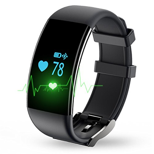Longess Fitness Tracker, App-Enabled Bluetooth 4.0 Water Resistance Smart Watch, Sleep and Heart Rate Monitor Compatible with Android and IOS Smartphones (Black)