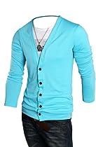 Keral Casual V-neck Coat Slim Polo Cardigan Men Cashmere Sweater SkyBlue XXL