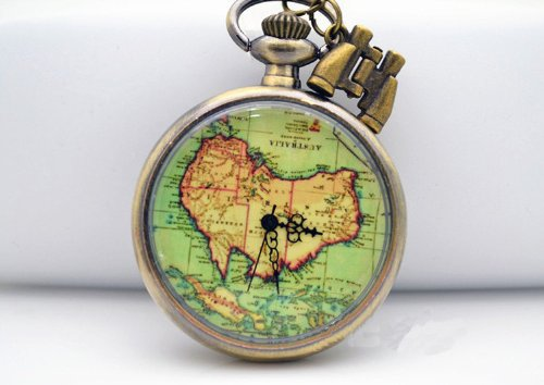 Antique Brass Oceania Australia Map Pocket Watch Necklace, Telescope Adventure Necklace