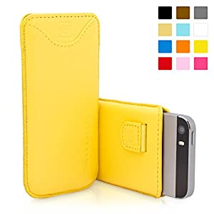 Snugg iPhone 5 / 5S Leather Case in Yellow - Pouch with Card Slot, Elastic Pull Strap and Premium Nubuck Fibre Interior for the Apple iPhone 5 / 5S