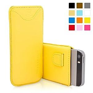 Snugg - Funda De Cuero Con Una Garantía De Por Vida, Para Apple iPhone 5 / 5s, Amarillo