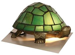 Green Tiffany Tortoise Lamp by Oaks Lighting