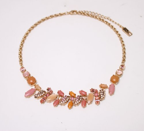 24K Rose Gold Plated Gorgeous Necklace from 'Love and Tenderness' 2013 Collection Made by Amaro Jewelry Studio Accented with Rose Quartz, Pink Aventurine, Pink Mussel, Swarovski Crystals and Cute Flowers