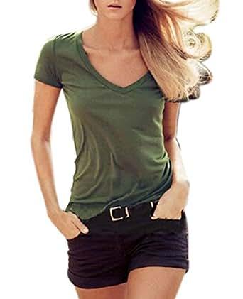 Amazon.com: Muke Women's V Neck Slim Army Green Olive Military Style T