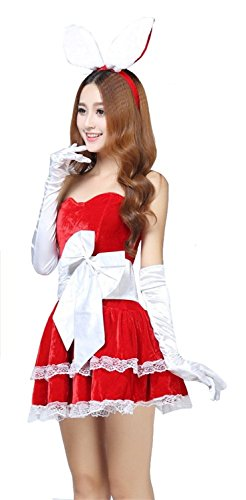 LoveSex Lingerie Ladies Christmas Costumes Dress Bunny Girl Holiday Uniform