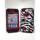 Armored Core Zebra Print Case White/Black with Red Shell for Iphone 4/4S