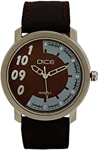 """Dice """"Ruff Buff 0503"""" Wrist Watch for Men. Fitted with sober, non shining, gun metal Body and Brown dial and anti allergic leather strap"""
